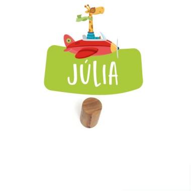 Colgador infantil personalizado - La jirafa va en avión