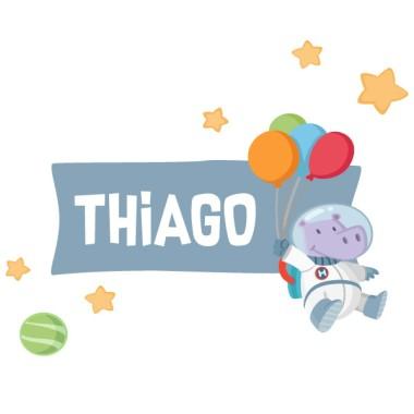 Hipopótamo astronauta con globos - Vinilo con nombre para puertas
