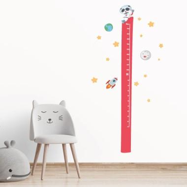 Oso panda con cohete - Vinilo medidor de pared