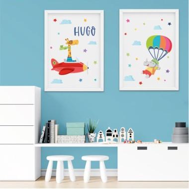 Pack de 2 láminas decorativas - Jirafa en avión + Rinoceronte paracaidista