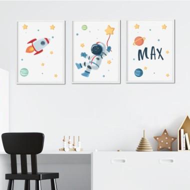 Pack de 3 láminas infantiles - Astronauta, misión espacial