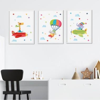 Pack de 3 láminas infantiles - Animales en avioneta y paracaídas