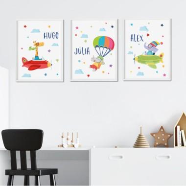Lot de 3 affiche  pour enfants - Animaux en avions et parachutes