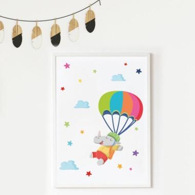 Lámina decorativa infantil - Rinoceronte paracaidista
