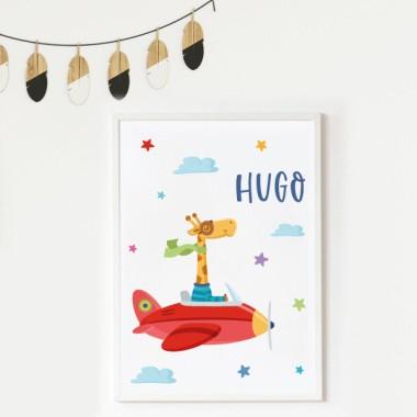 Lámina decorativa infantil - La jirafa va en avión