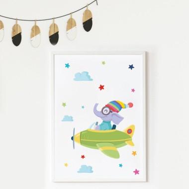 Lámina decorativa infantil - Avión con elefante