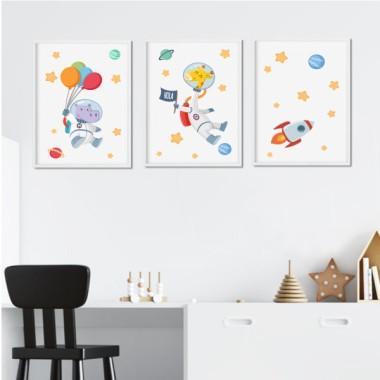Lot de 3 affiche  pour enfants - Animaux astronautes (girafe + hippopotame)