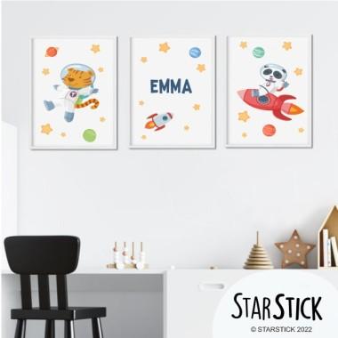 Lot de 3 affiche  pour enfants - Animaux astronautes (tiger + panda)