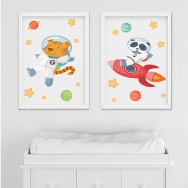 Lot de 2 toiles déco - Tiger + Panda avec fusée