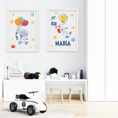 Pack de 2 láminas decorativas - Hipopótamo + Jirafa astronauta