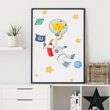 Làmina decorativa infantil - Girafa astronauta