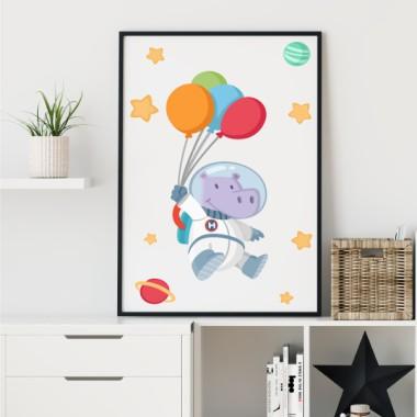 Lámina decorativa infantil - Hipopótamo astronauta con globos