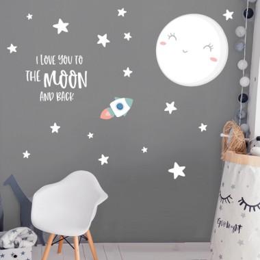 Je t'aime à la lune - Sticker mural