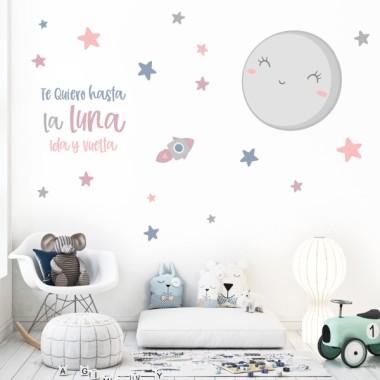 Vinilos para bebé - Te quiero hasta la luna y volver - Mint o rosa