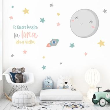 Je t'aime à la lune - Sticker mural - Couleurs