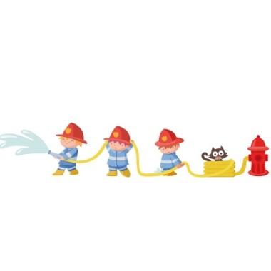 Bombers - Vinils infantils Vinils Nen  Si al teu fill li agraden els bombers, tenim el vinil ideal per decorar la paret de la seva habitació de manera molt divertida.     Mides aproximades del vinil enganxat (ample x alt) Petit:125x25cm Mitjà:145x28cm Gran:220x44 cm Gegant:300x60 cm   AFEGEIX UN NOM AL VINIL DES DE 9,99 €  vinilos infantiles y bebé Starstick
