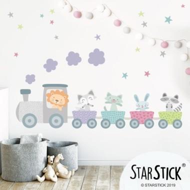Train avec animaux - Sticker muraux chambre bébé