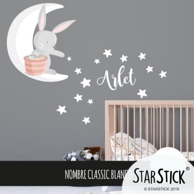 Conillet a la lluna repartint estrelles - Vinil per nadó