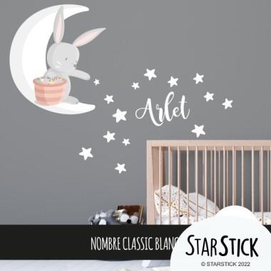 Lapin sur la lune donnant des étoiles - Sticker mural bébé