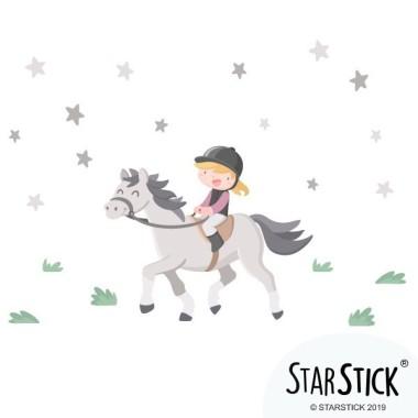 Sticker filles - Fille cavalier