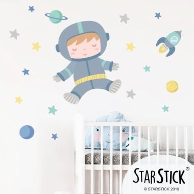 L'astronaute bébé. Turquoise - Sticker enfant et bébé
