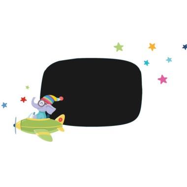 Avion avec éléphant - Affiche de signalisation - Sticker ardoise