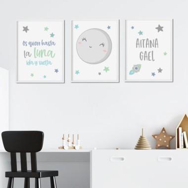 Lot de 3 affiche  pour enfants - Je t'aime à la lune - Menthe ou rose