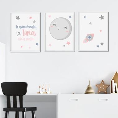 Lot de 3 affiche  pour enfants - Je t'aime à la lune