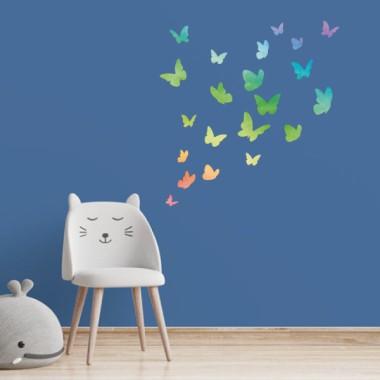 Papillons colorés Rainbow - Sticker muraux