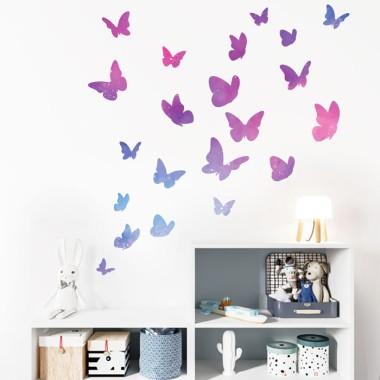 Papillons colorés - Galaxie - Sticker muraux