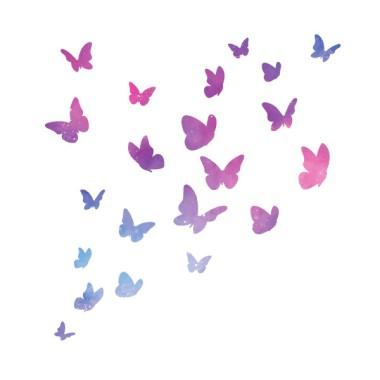Mariposas de colores - Galaxia - Vinilos decorativos Vinilos básicos. Estrellas, topos... Alegre vinilo decorativo con 21 mariposas de distintos colores. Perfectas para decorar cualquier pared. Todas las mariposas son independientes, se pueden pegar con la distribución que cada uno prefiera.  Medidas del vinilo decorativo21 mariposas Tamaño de la lámina: 60x33 cmTamaño del montaje:100x100 cm aprox. Tamaño mariposas: Entre 5 y 15 cm de ancho cada una   vinilos infantiles y bebé Starstick