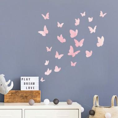 Papallones de colors - Rosa aquarel·la - Vinils decoratius
