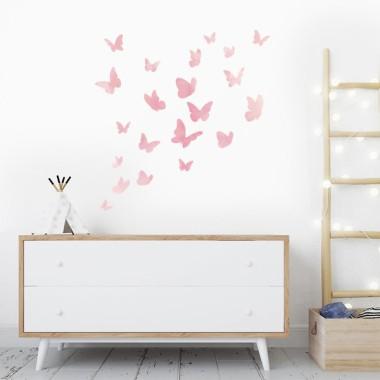 Papillons colorés - Aquarelle rose - Sticker muraux
