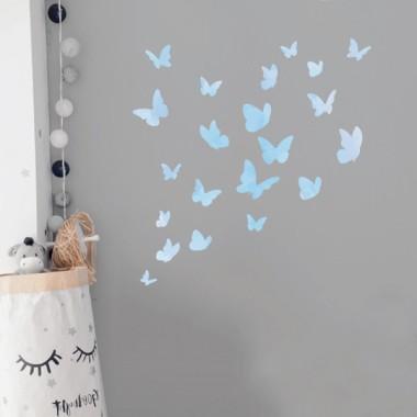 Papillons colorés - Aquarelle bleu - Sticker muraux