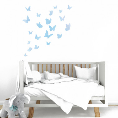Mariposas de colores - Azul acuarela - Vinilos decorativos