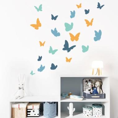 Mariposas de colores - azul - Vinilos decorativos
