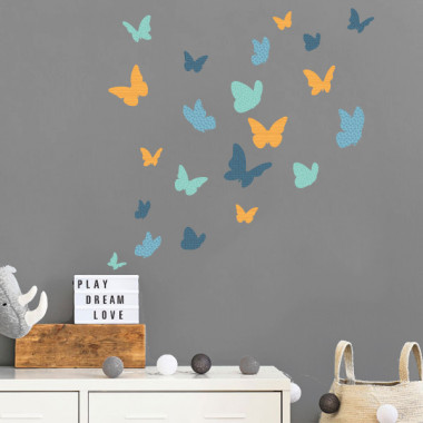 Papillons colorés - Bleu - Sticker muraux