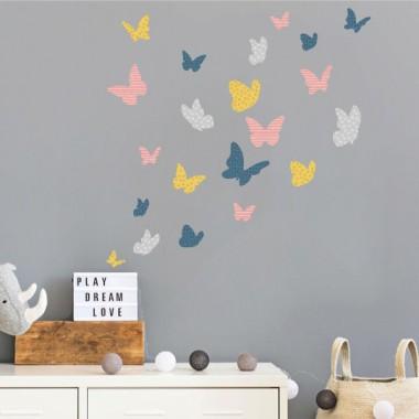 Papillons colorés - Vintage - Sticker muraux