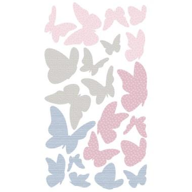 Mariposas de colores - Rosa gris - Vinilos decorativos