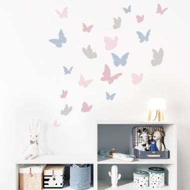 Papillons colorés - Rose grise - Sticker muraux