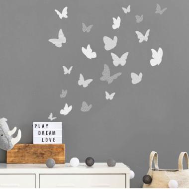Papillons colorés - Grise - Sticker muraux