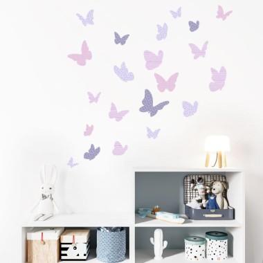 Papillons colorés - Lavande - Sticker muraux