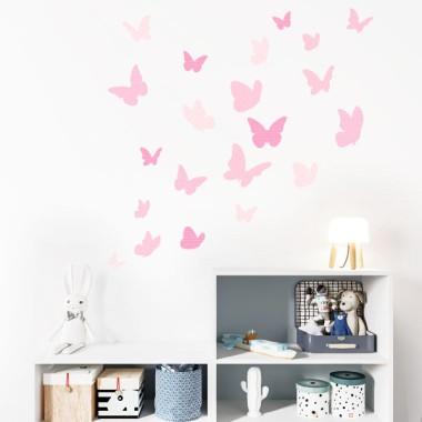 Papillons colorés - Rose bebé - Sticker muraux