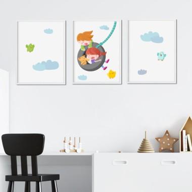 Pack de 3 láminas infantiles - Niño y niña en el columpio