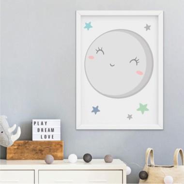 Lámina decorativa infantil - Te quiero hasta la luna y volver - Mint o rosa