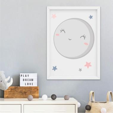 Làmina decorativa infantil - T'estimo fins a la lluna i tornar - Mint o rosa