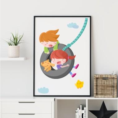 Lámina decorativa infantil - Niño y niña en el columpio