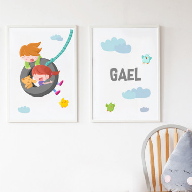 Lot de 2 toiles déco - Garçon et fille sur la balançoire