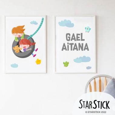 Pack de 2 láminas decorativas - Niño y niña en el columpio