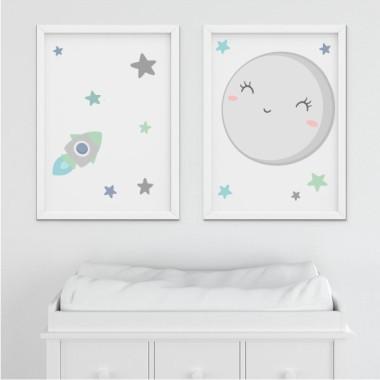 Lot de 2 toiles déco - Je t'aime à la lune